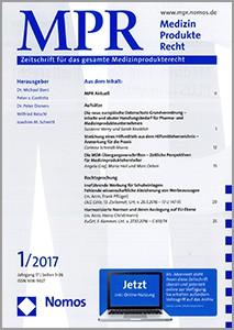 Titelblatt der Zeitschrift für das gesamte Medizinprodukterecht